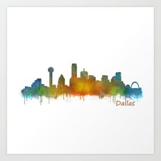 Dallas Texas City Skyline watercolor v02 Art Print