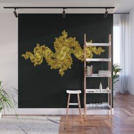 golden dragon on black Wall Mural