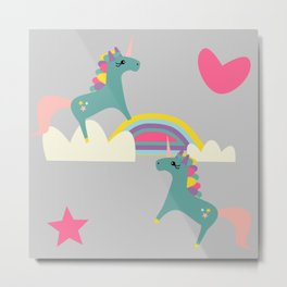 unicorn and rainbow gray Metal Print