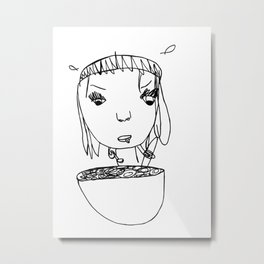 Eating Cereal Metal Print