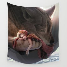 Futuristic Red Riding Hood Wall Tapestry