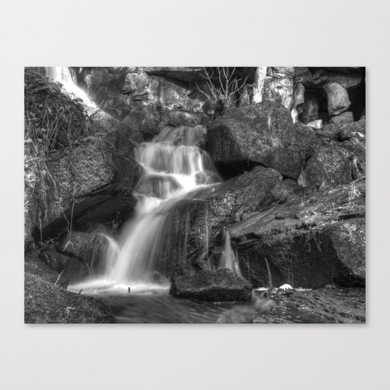 Lumsdale waterfall 6 - mono Canvas Print