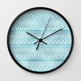 Gentle Blue Greek Meander Pattern on glass Wall Clock