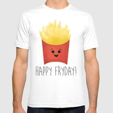 Happy Fryday! MEDIUM White Mens Fitted Tee