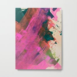 Expand [1]: a colorful, minimal abstract piece in pinks, green, and blue Metal Print