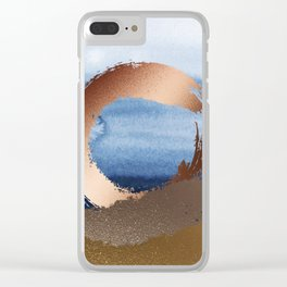 Inspiration: Gold, Copper And Blue Clear iPhone Case