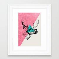 techno Framed Art Prints featuring Techno Deer by Zeke Tucker