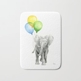 Elephant Watercolor Baby Animal with Balloons Blue Yellow Green Bath Mat