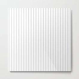 White And Black Pinstripes Minimalist Metal Print