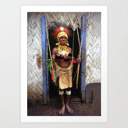 Papua New Guinea Chief in Hut Doorway Art Print
