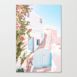 Santorini Greece Mamma Mia Pink House Travel Photography in hd. Canvas Print