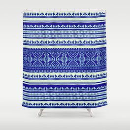 nordic pattern with singing birds in blue Shower Curtain