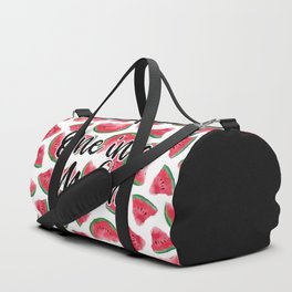 One in a Melon Quote Watermelon Watercolor Pattern Duffle Bag