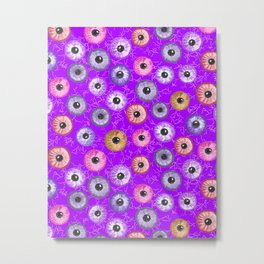Ditsy Eyes (purples, blues, pinks, yellows) Metal Print