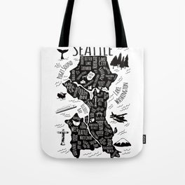 Seattle Illustrated Map in Black and White - Single Print Tote Bag