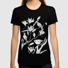 Magnolia flower and birds ink-pen drawing T-shirt