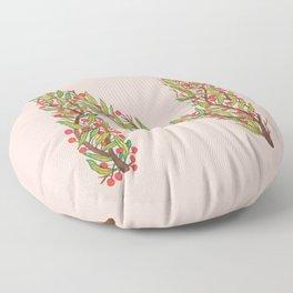 Leafy Letter N Floor Pillow