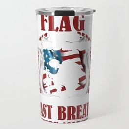 Patriotic American Flag flies from the Last Breath of Soldier Defending It Travel Mug