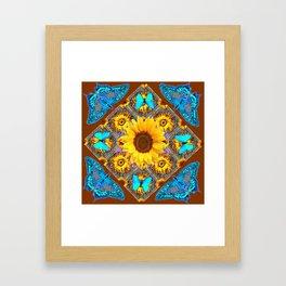 WESTERN SUNFLOWER BUTTERFLIES COFFEE BROWN Framed Art Print