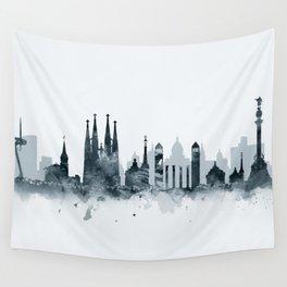 Barcelona Skyline Wall Tapestry