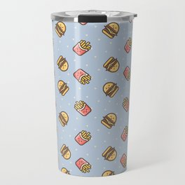 Cute pink brown blue funny fries burger food triangles pattern Travel Mug