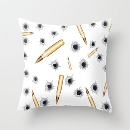 BULLETS N BULLET HOLES Throw Pillow