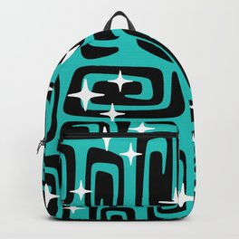 Mid Century Modern Cosmic Galaxies 436 Black and Turquoise Backpack