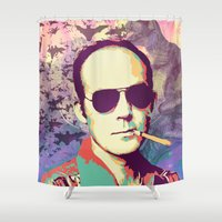 hunter s thompson Shower Curtains featuring Hunter S. Thompson by victorygarlic