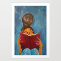 bookworm Art Prints featuring bookworm by Sugah Acrylics & Designs