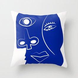 Blue mood portrait Throw Pillow