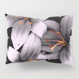 Black and White Ant Lilies Flower Scanography Pillow Sham