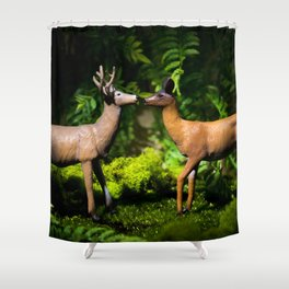 Deer Kissing In the Forest Shower Curtain