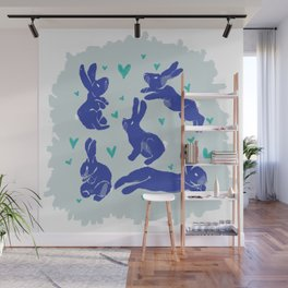 Bunny love - Blueberry edition Wall Mural