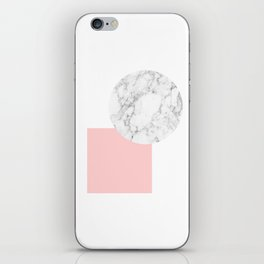 Marble and pink square geometric abstract print iPhone Skin
