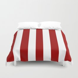 Crimson red - solid color - white vertical lines pattern Duvet Cover