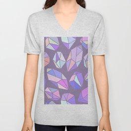 purple pink gem pattern Unisex V-Neck