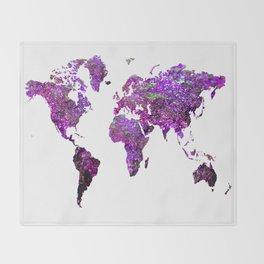 Purple World Map Throw Blanket