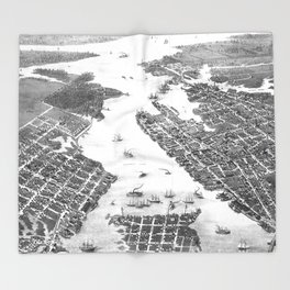 Vintage Map of Norfolk and Portsmouth VA (1873) BW Throw Blanket