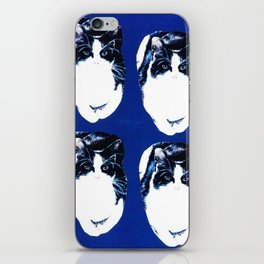 Black and white cat pattern on blue iPhone Skin