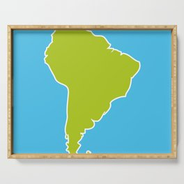 South America map blue ocean and green continent. Vector illustration Serving Tray