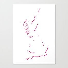 Great Britain Silhouette Shadow Map Art in Bright Pink Canvas Print