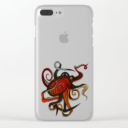 octopus ink gunmetal Clear iPhone Case