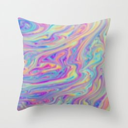 psychedelic color waves Throw Pillow