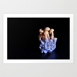 white beech mushrooms on dark table with violet and orange light Art Print
