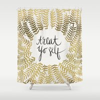 treat yo self Shower Curtains featuring Treat Yo Self – Gold by Cat Coquillette
