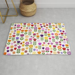 Scandinavian Style Colorful Flowers Pattern Rug