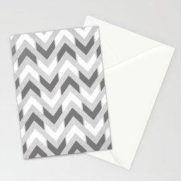 Grey & White Herringbone Chevron Stationery Cards
