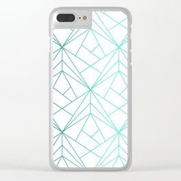 Geometric Turquoise Pattern Clear iPhone Case
