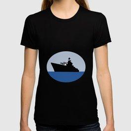 World War Two Battleship Destroyer Oval Retro T-shirt