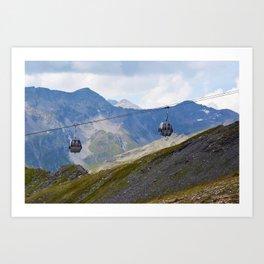 Austria ski lifts Art Print